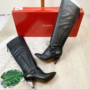 Guess Knee High Black Leather Heeled Boots 7.5